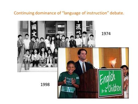 "1974 1998 Continuing dominance of ""language of instruction"" debate."