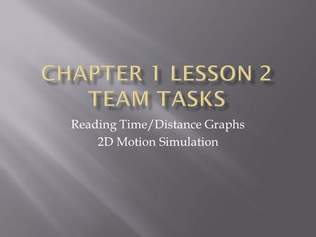 Reading Time/Distance Graphs 2D Motion Simulation.