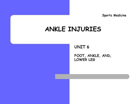 ANKLE INJURIES Sports Medicine Ankle Sprain Evaluation.
