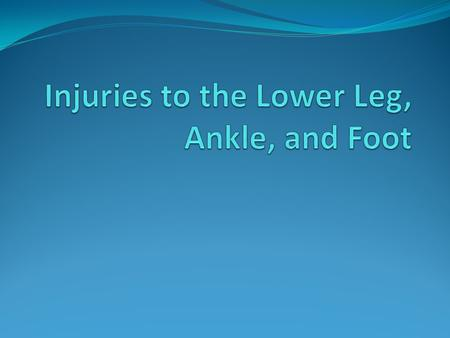 Injuries to the Lower Leg, Ankle, and Foot… For an athlete to move well, there must be excellent functioning of the lower leg, ankle, and foot The foot.