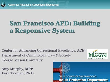 Center for Advancing Correctional Excellence, ACE! Department of Criminology, Law & Society George Mason University Amy Murphy, MPP Faye Taxman, Ph.D.