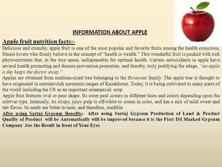 Apple fruit nutrition facts:- INFORMATION ABOUT APPLE