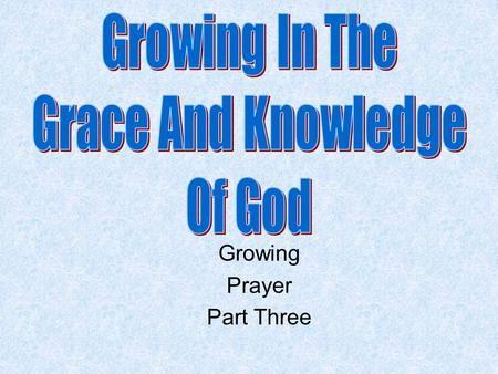 Growing Prayer Part Three. Review Knowing, Growing, Understanding, Living, Giving Structured plans are best Especially the plans that God gives us. What.