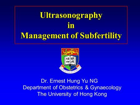 Ultrasonography in Management of Subfertility
