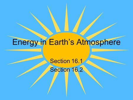 Energy in Earth's Atmosphere