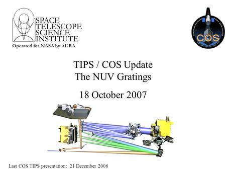 SPACE TELESCOPE SCIENCE INSTITUTE Operated for NASA by AURA TIPS / COS Update The NUV Gratings 18 October 2007 Last COS TIPS presentation: 21 December.
