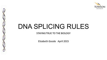 DNA SPLICING RULES STAYING TRUE TO THE BIOLOGY Elizabeth Goode April 2015.