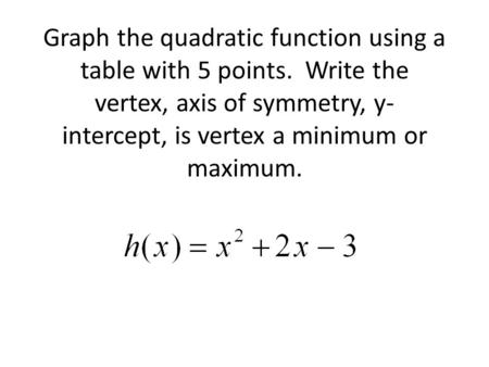 Graph the quadratic function using a table with 5 points. Write the vertex, axis of symmetry, y- intercept, is vertex a minimum or maximum.
