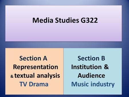 Media Studies G322 Section A Representation & textual analysis TV Drama Section A Representation & textual analysis TV Drama Section B Institution & Audience.