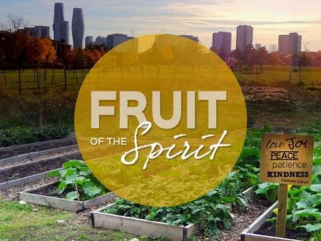 "FRUIT OF THE SPIRIT ""The church is God's Garden. The community of disciples is the plot where the Holy Spirit is nurturing and bringing forth fruit."