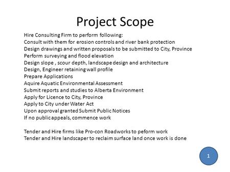 Project Scope Hire Consulting Firm to perform following: