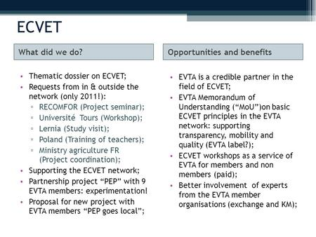 ECVET What did we do?Opportunities and benefits Thematic dossier on ECVET; Requests from in & outside the network (only 2011!): ▫ RECOMFOR (Project seminar);