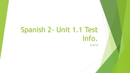 Spanish 2- Unit 1.1 Test Info.