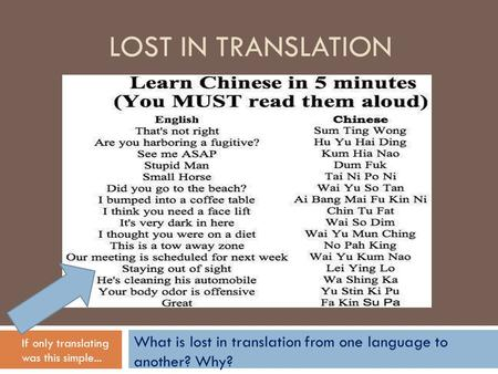 LOST IN TRANSLATION What is lost in translation from one language to another? Why? If only translating was this simple...
