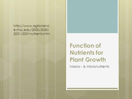 Function of Nutrients for Plant Growth Macro - & Micronutrients  e.msu.edu/2000/2030/ 2031/2031nutrients.htm.