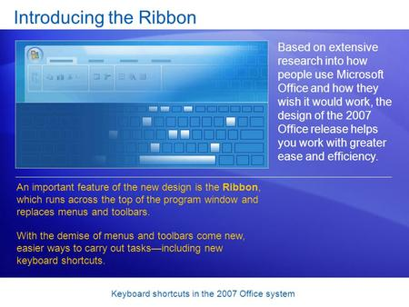 Keyboard shortcuts in the 2007 Office system Introducing the Ribbon Based on extensive research into how people use Microsoft Office and how they wish.