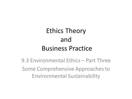 approaches to environmental ethics