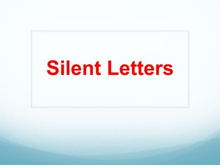 Silent Letters. Here is a list of common letter combinations with silent letters. This list contains most of the silent letters that give English as a.