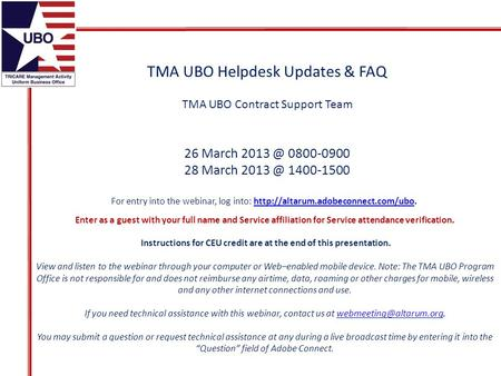 TMA UBO Helpdesk Updates & FAQ TMA UBO Contract Support Team