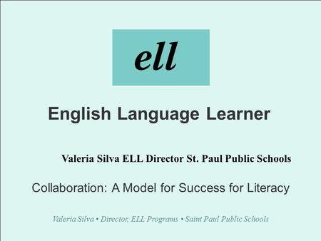 English Language Learner Collaboration: A Model for Success for Literacy Valeria Silva Director, ELL Programs Saint Paul Public Schools Valeria Silva ELL.