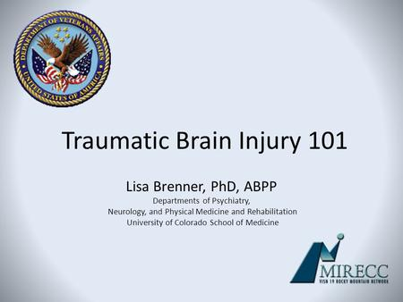 Traumatic Brain Injury 101 Lisa Brenner, PhD, ABPP Departments of Psychiatry, Neurology, and Physical Medicine and Rehabilitation University of Colorado.