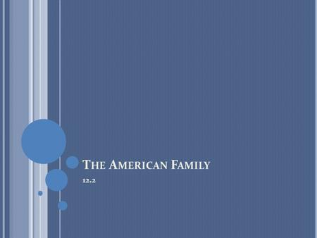 "T HE A MERICAN F AMILY 12.2. I NTRODUCTION ""Image of Typical American Family"": working father, a stay-at home mother, and two or three children Other."