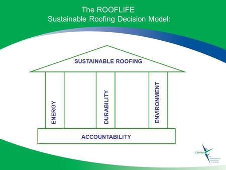 SUSTAINABLE ROOFING ENVIRONMENT ENERGY DURABILITY ACCOUNTABILITY The ROOFLIFE Sustainable Roofing Decision Model: