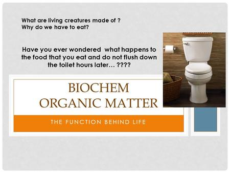 THE FUNCTION BEHIND LIFE BIOCHEM ORGANIC MATTER What are living creatures made of ? Why do we have to eat? Have you ever wondered what happens to the food.