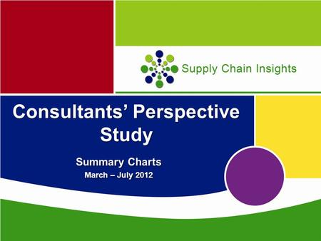 Supply Chain Insights Consultants' Perspective Study Summary Charts March – July 2012 Summary Charts March – July 2012.