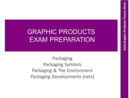 AQA Graphic Products Theory Work GRAPHIC PRODUCTS EXAM PREPARATION Packaging Packaging Symbols Packaging & The Environment Packaging Developments (nets)