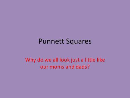 Punnett Squares Why do we all look just a little like our moms and dads?