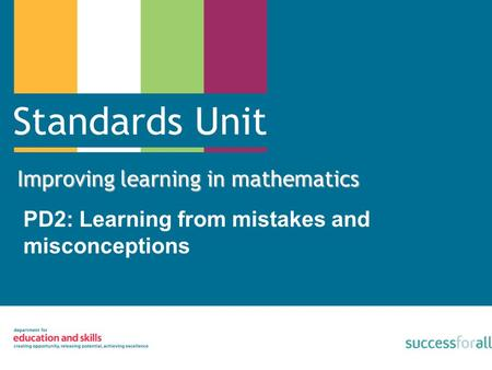 Improving learning in mathematics PD2: Learning from mistakes and misconceptions.