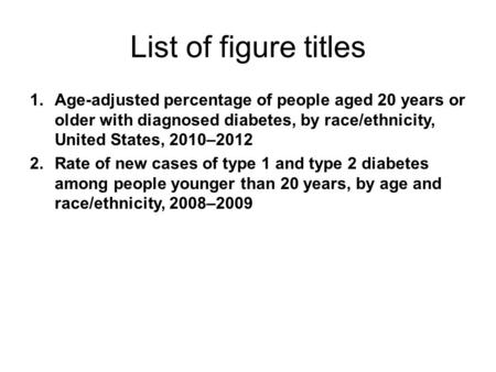 List of figure titles 1.Age-adjusted percentage of people aged 20 years or older with diagnosed diabetes, by race/ethnicity, United States, 2010–2012 2.Rate.
