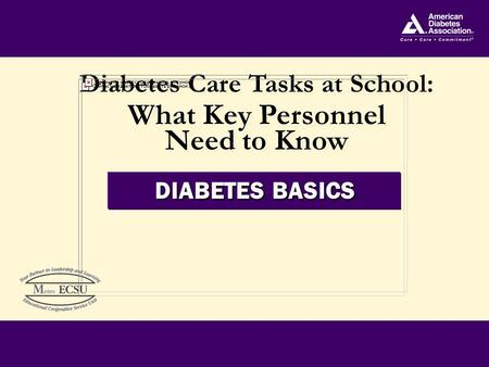 Diabetes Care Tasks at School: What Key Personnel Need to Know Diabetes Care Tasks at School: What Key Personnel Need to Know DIABETES BASICS.