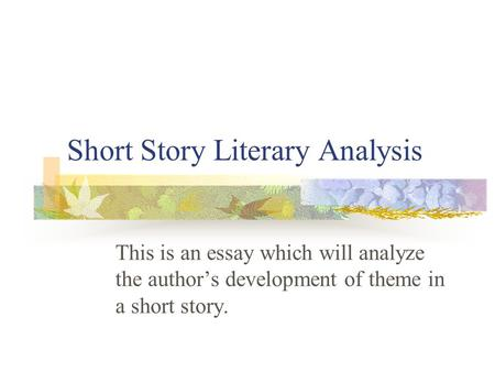 short essay with author 2017-5-9  study questions to help you get the most out of the short story not all of these questions will be equally applicable to all of the short stories you will read -- or to short stories generally that you will read outside this course.