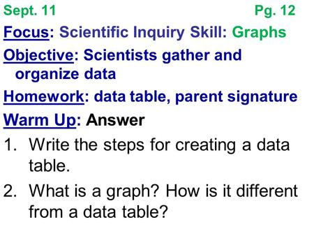 Sept. 11Pg. 12 Focus: Scientific Inquiry Skill: Graphs Objective: Scientists gather and organize data Homework: data table, parent signature Warm Up: