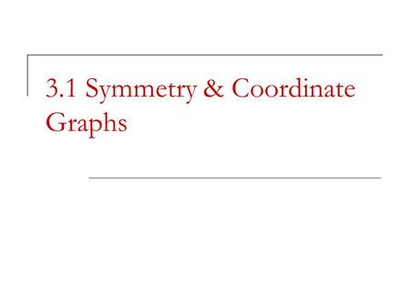 3.1 Symmetry & Coordinate Graphs. I. Symmetry Point symmetry – two distinct points P and P ' are symmetric with respect to point M if and only is M is.