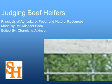 Judging Beef Heifers Principals of Agriculture, Food, and Natural Resources Made By: Mr. Michael Baca Edited By: Charolette Atkinson.