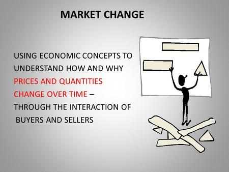 MARKET CHANGE USING ECONOMIC CONCEPTS TO UNDERSTAND HOW AND WHY PRICES AND QUANTITIES CHANGE OVER TIME – THROUGH THE INTERACTION OF BUYERS AND SELLERS.