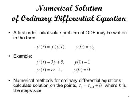 Numerical Solution of Ordinary Differential Equation