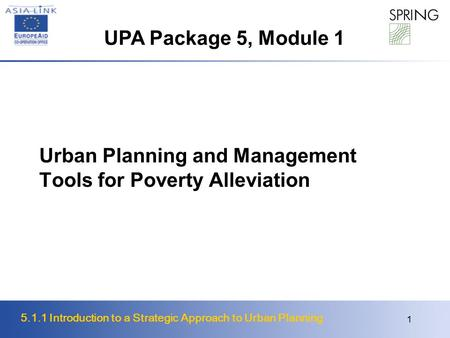 Urban Planning and Management Tools for Poverty Alleviation