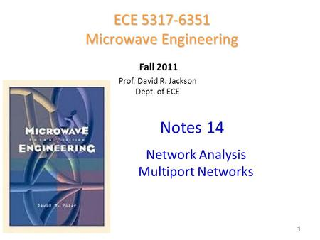 Prof. David R. Jackson Dept. of ECE Notes 14 ECE 5317-6351 Microwave Engineering Fall 2011 Network Analysis Multiport Networks 1.