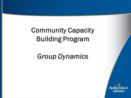 Community Capacity Building Program Group Dynamics.