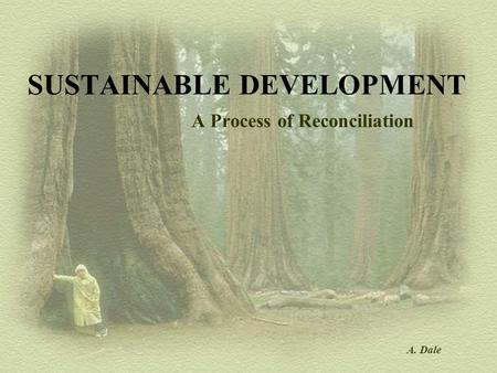 SUSTAINABLE DEVELOPMENT A Process of Reconciliation A. Dale.