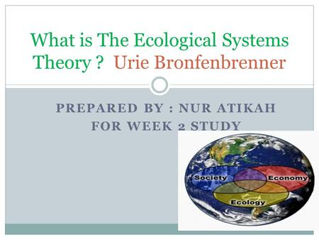 PREPARED BY : NUR ATIKAH FOR WEEK 2 STUDY What is The Ecological Systems Theory ? Urie Bronfenbrenner.