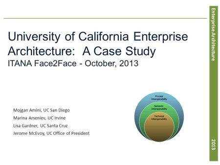 Enterprise Architecture 2013 University of California Enterprise Architecture: A Case Study ITANA Face2Face - October, 2013 Mojgan Amini, UC San Diego.