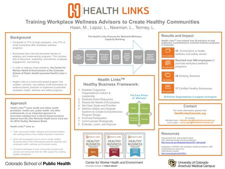 Training Workplace Wellness Advisors to Create Healthy Communities Haan, M., Lapaz, L., Newman, L., Tenney, L. Background Compared to 77% of large employers,