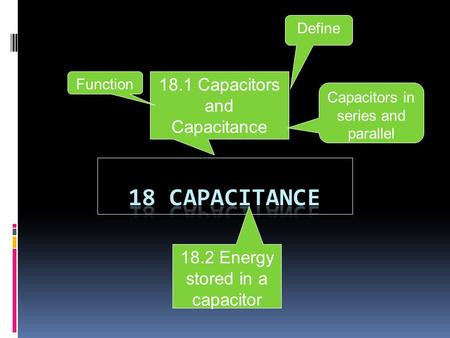 18.2 Energy stored in a capacitor 18.1 Capacitors and Capacitance Define Function Capacitors in series and parallel.