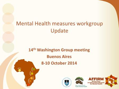 Mental Health measures workgroup Update 14 th Washington Group meeting Buenos Aires 8-10 October 2014.
