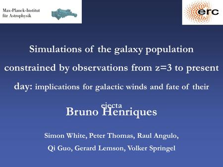 Simulations of the galaxy population constrained by observations from z=3 to present day: implications for galactic winds and fate of their ejecta Bruno.